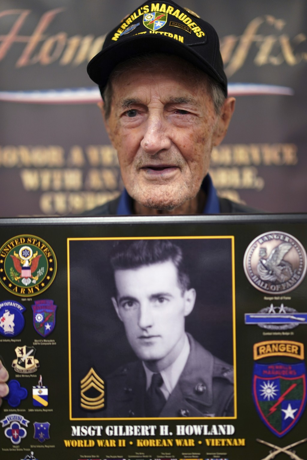 CORRECTS TO LANGHORN, NOT LONGHORN - Gilbert Howland, of Langhorn, Pa., one of the few remaining members of the famed WWII Army unit Merrill's Maraude