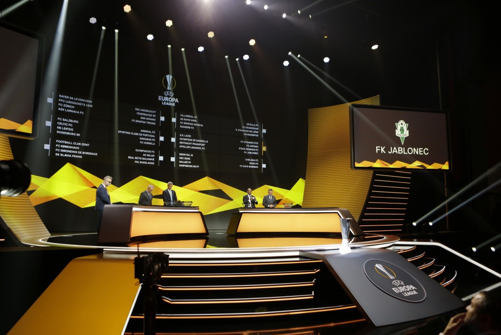 General view of the UEFA Europa League draw at the Grimaldi Forum, in Monaco, Friday, Aug. 31, 2018. (AP Photo/Claude Paris)