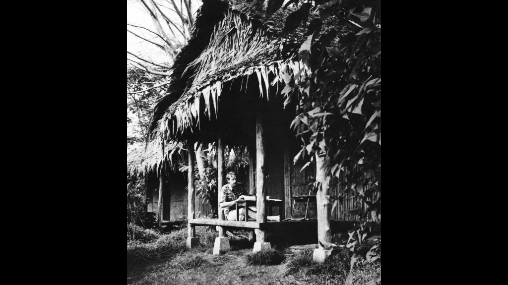 FILE - In this Oct. 1976 file photo, Honolulu newsman Bob Barr sets up shop on the porch of his hotel room on the island of Ponape in Micronesia. Robe...