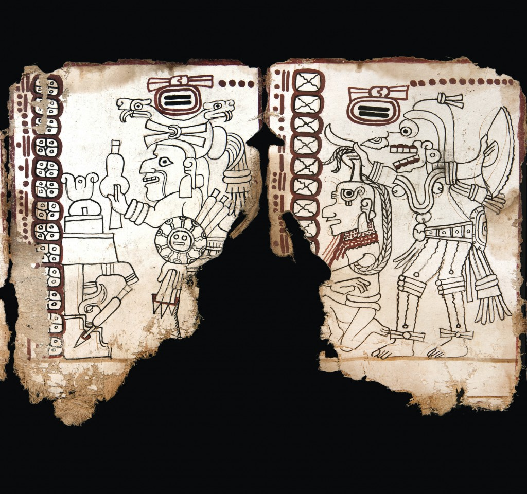 This undated photo released by Mexico's National Anthropology and History Institute (INAH) shows an ancient Maya pictographic text that has been judge...