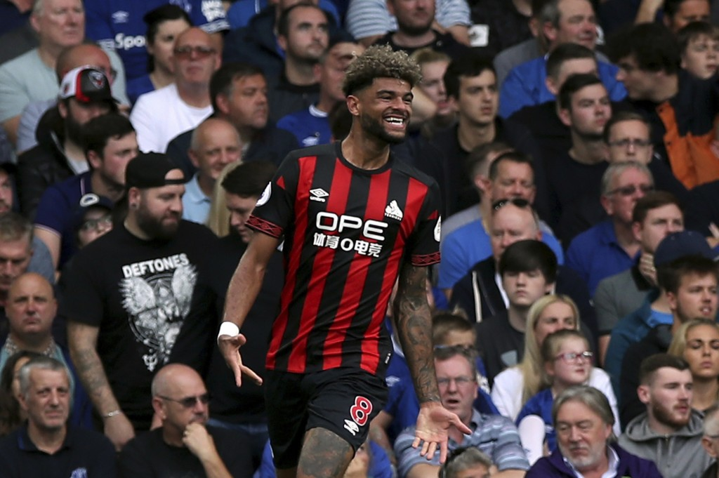Huddersfield Town's Philip Billing celebrates scoring his side's first goal of the game  during the English Premier League soccer match between Everto...