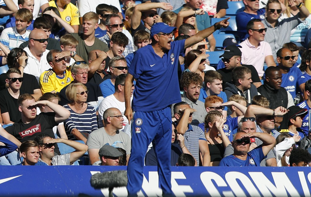Chelsea's team manager Maurizio Sarri gestures during the English Premier League soccer match between Chelsea and Bournemouth at Stamford Bridge stadi...