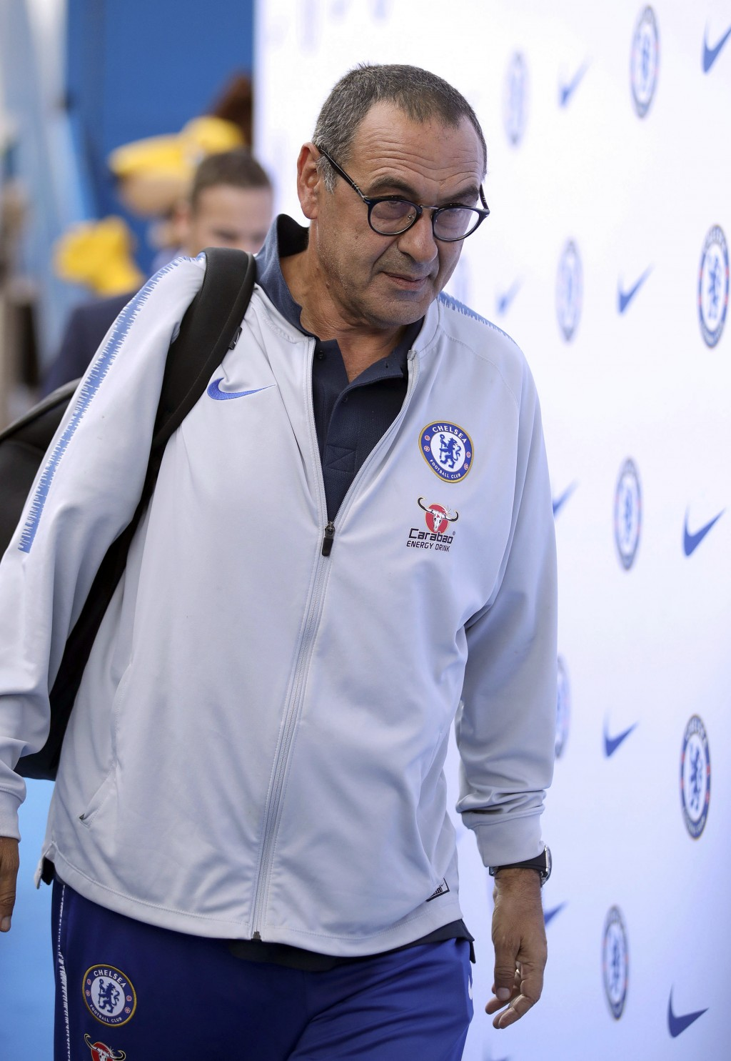 Chelsea manager Maurizio Sarri arrives ahead of a Premier League soccer match between Chelsea and Bounemouth, at Stamford Bridge, London, Saturday, Se...