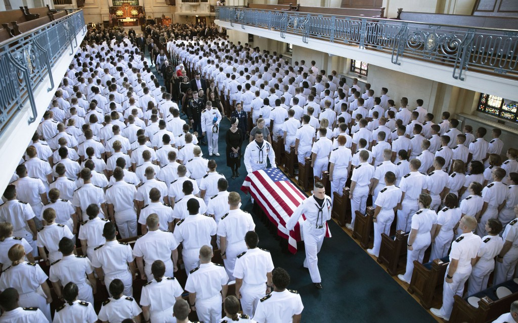 In this image proved by the family of John McCain, the family follows as the casket of Sen. John McCain, R-Ariz., is moved from the Chapel on the grou