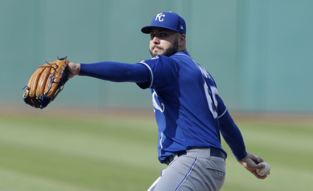 Kansas City Royals starting pitcher Jakob Junis delivers in the first inning of a baseball game against the Cleveland Indians, Monday, Sept. 3, 2018, ...