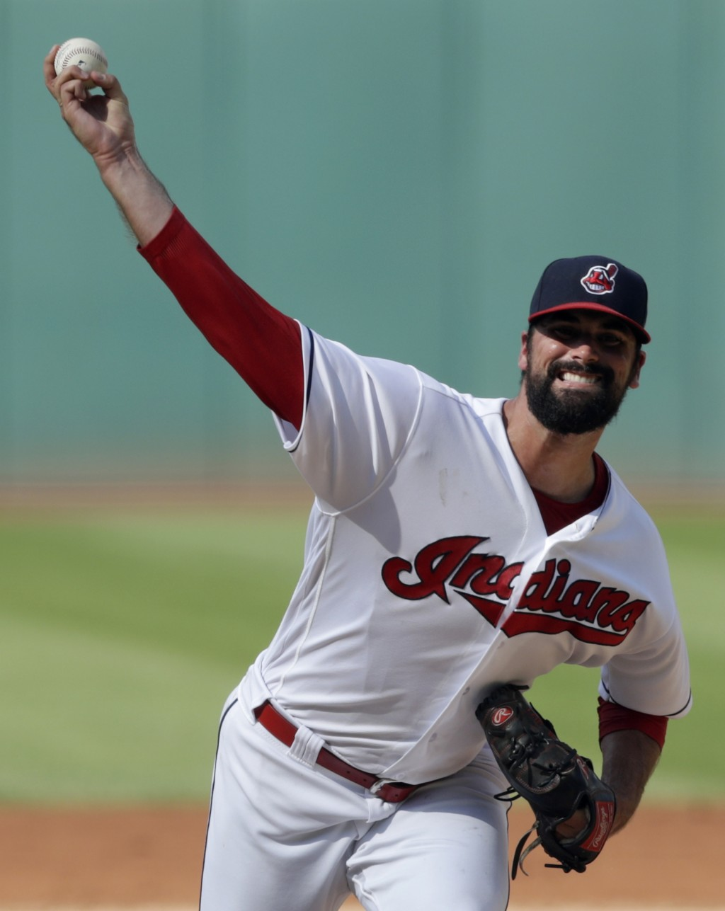Cleveland Indians starting pitcher Adam Plutko delivers in the first inning of a baseball game against the Kansas City Royals, Monday, Sept. 3, 2018, ...