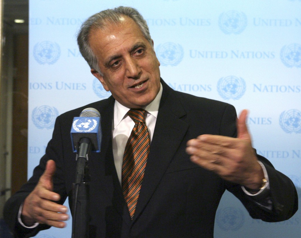 FILE - In this Jan. 5, 2009, file photo, then-U.S. Ambassador to the U.N. Zalmay Khalilzad, speaks to reporters at United Nations headquarters. The Tr