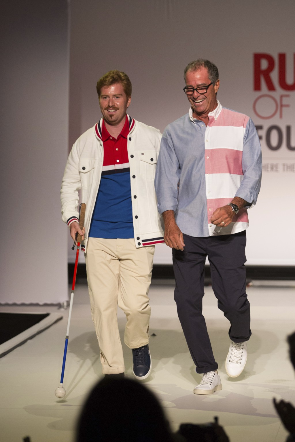 The Runway of Dreams collection is modeled by Griffin Pinkow, left, and his father, Steve Pinkow, Wednesday, Sept. 5, 2018, during Fashion Week in New...