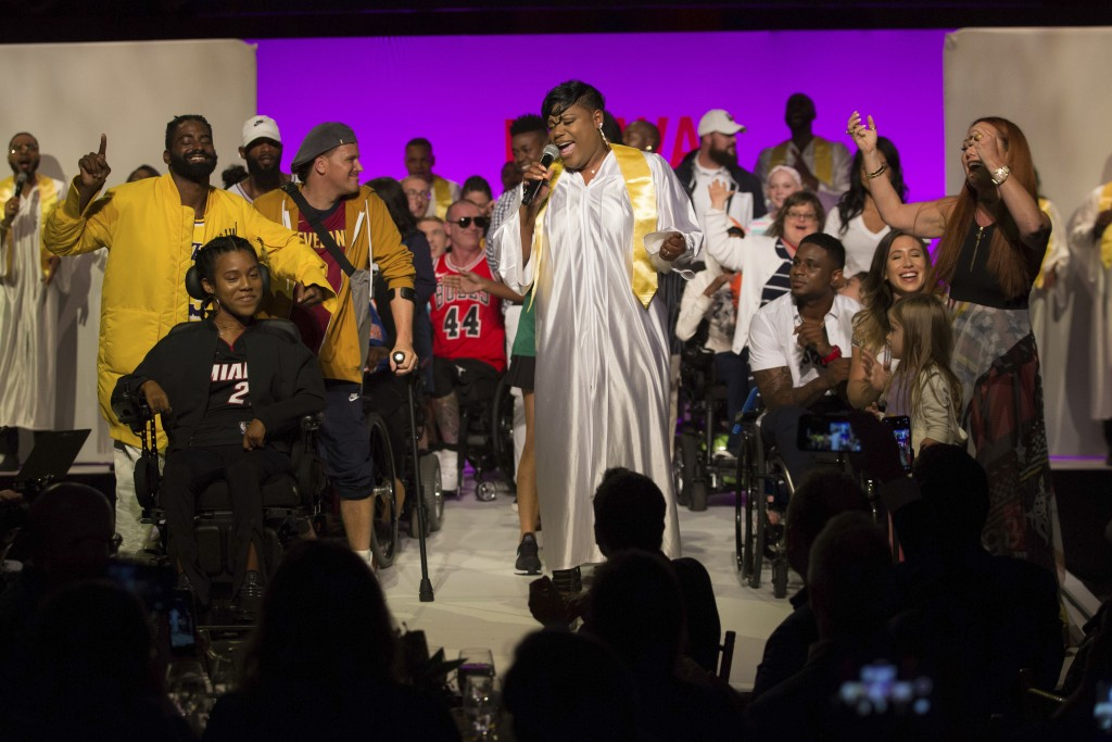 Models gather onstage for the finale of the Runway of Dreams runway show, Wednesday, Sept. 5, 2018, during Fashion Week in New York. The runway show f...
