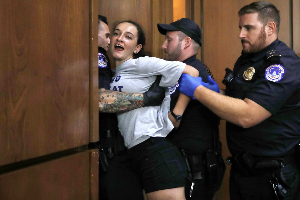 A protester is removed from the hearing room as President Donald Trump's Supreme Court nominee, Brett Kavanaugh testifies before the Senate Judiciary ...