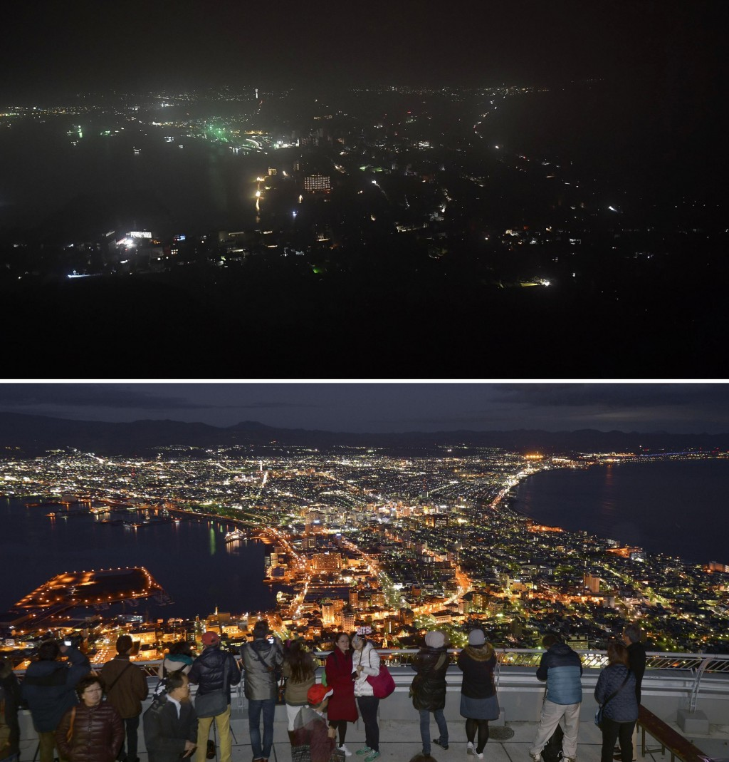This combination of photos shows Hakodate city during a blackout following a powerful earthquake on Thursday, Sept. 6, 2018, top, and the city with li