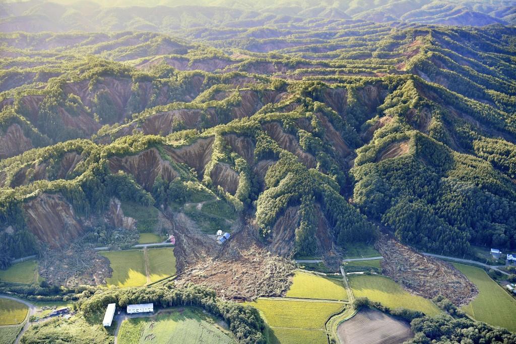 Landslides are seen in Atsuma, Hokkaido, northern ...