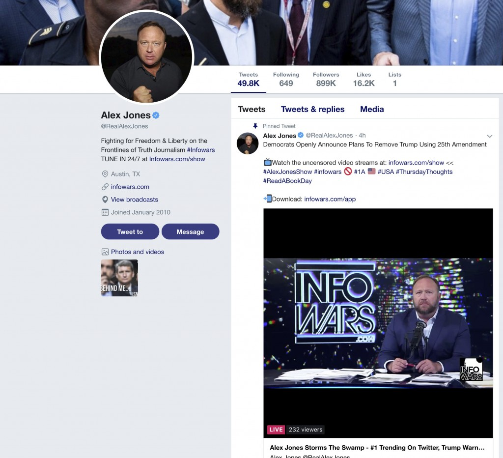 "This image shows right-wing conspiracy theorist Alex Jones' Twitter account on Thursday, Sept. 6, 2018. Twitter is permanently banning Jones and his ""..."
