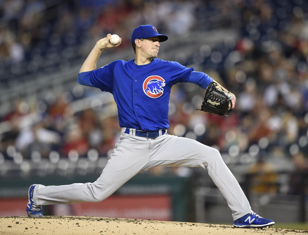 Chicago Cubs starting pitcher Kyle Hendricks throws during the second inning of a baseball game against the Washington Nationals, Thursday, Sept. 6, 2