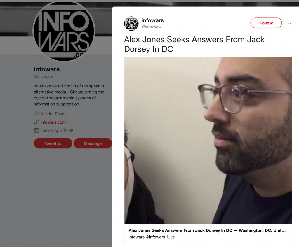 This image shows a post on Info Wars' Twitter account showing CNN journalist Oliver Darcy listening to right-wing conspiracy theorist Alex Jones on We...