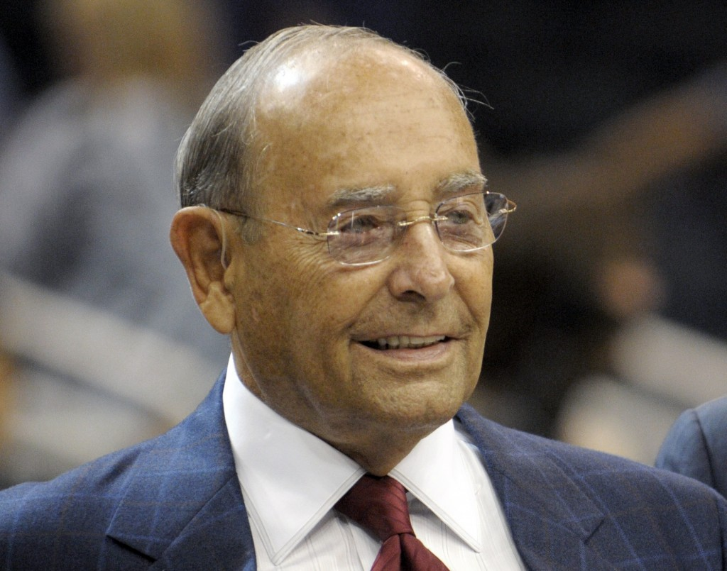 FILE - In this Oct. 10, 2010, file photo, Richard DeVos, Orlando Magic owner and Amway Inc. co-founder, smiles after welcoming fans to the new Amway C