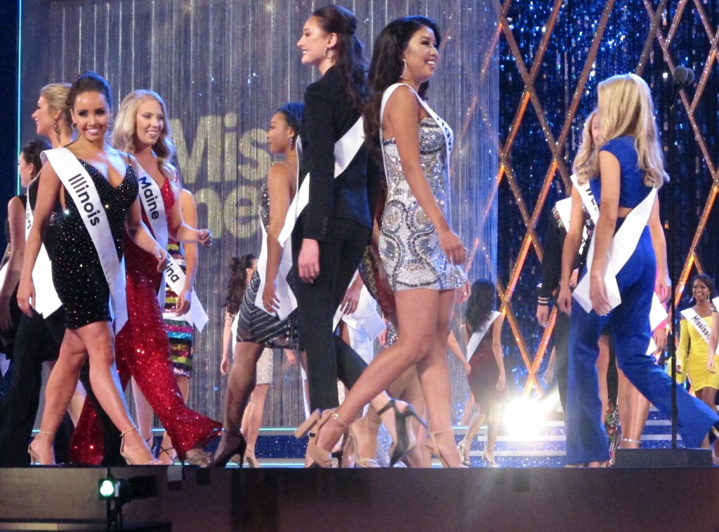 Contestants walk the stage during the second night of preliminary competition in the Miss America competition in Atlantic City N.J. on Thursday Sept. ...