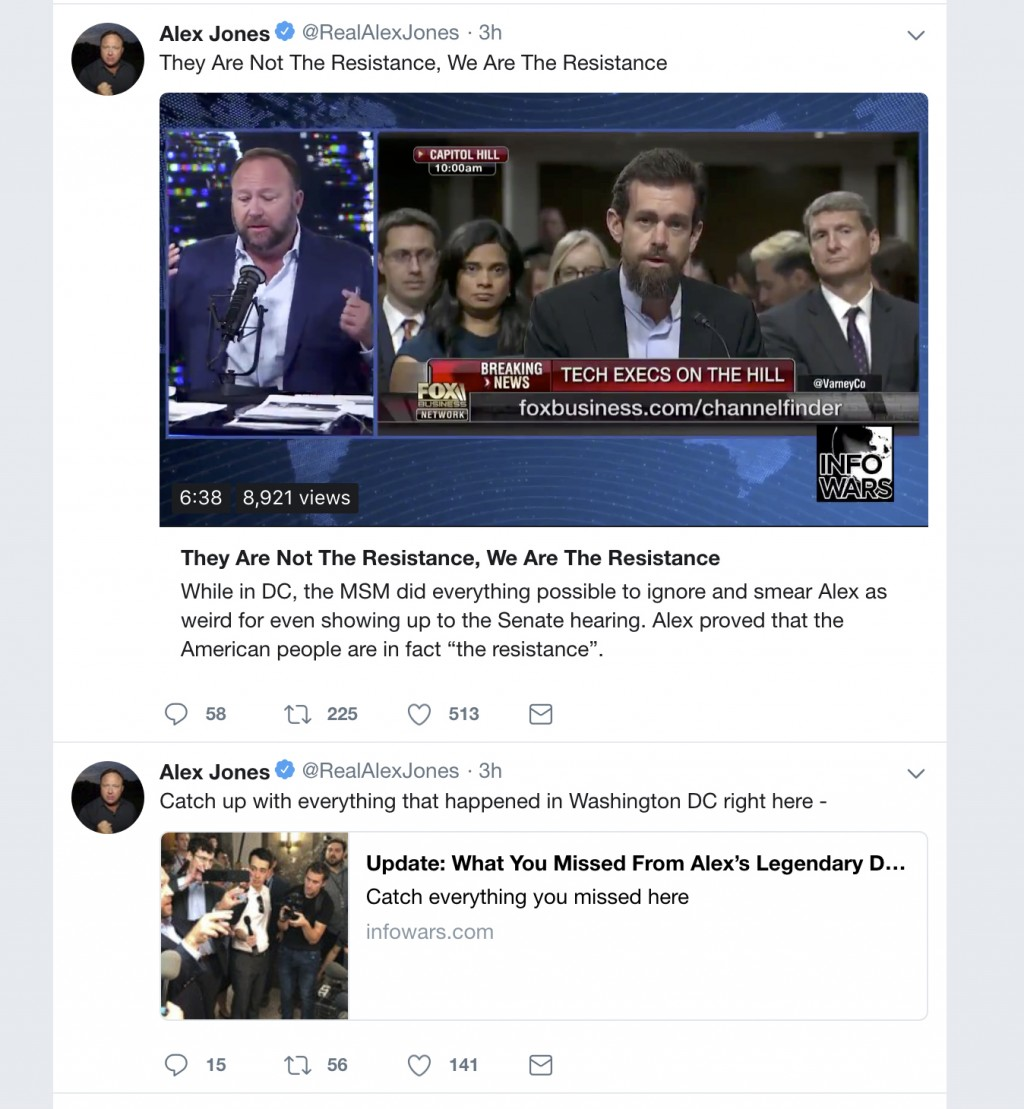 This image shows posts on right-wing conspiracy theorist Alex Jones' Twitter account on Thursday, Sept. 6, 2018. Twitter is permanently banning Jones ...