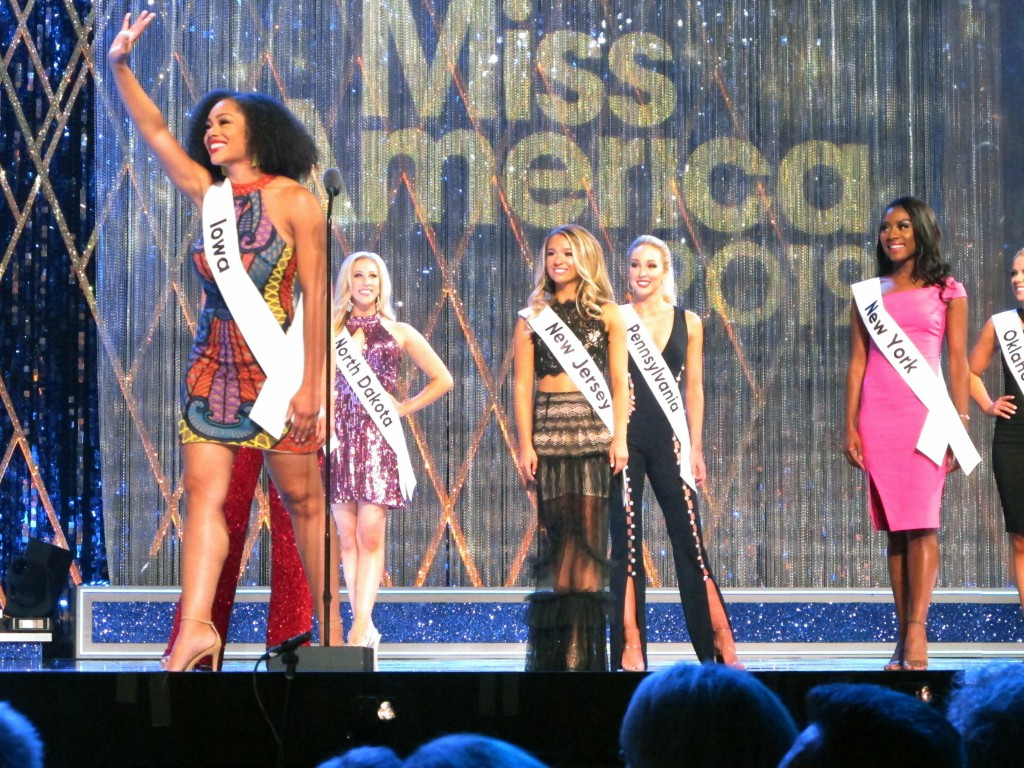 Mikhayla Hughes-Shaw, Miss Iowa, introduces herself during the second night of preliminary competition in the Miss America competition in Atlantic Cit...
