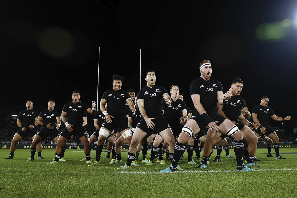 The All Blacks do the haka before the match against the Pumas at Trafalgar Park, Nelson, New Zealand, Saturday Sept. 8, 2018. (Anthony Au-Yeung/Pool P