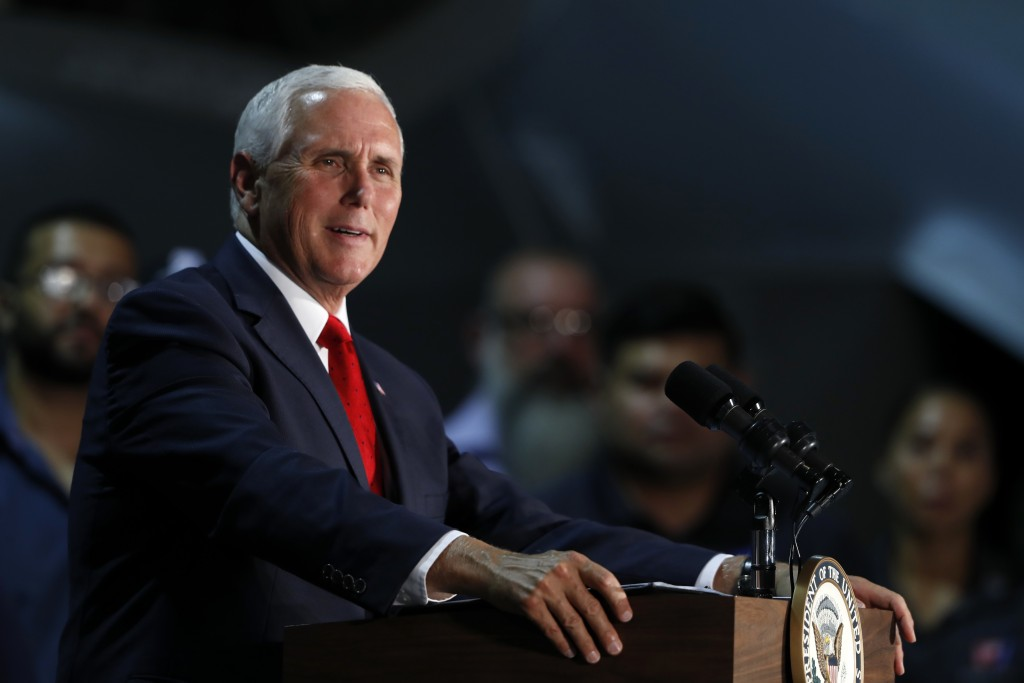 Vice President Mike Pence speaks to airmen during a visit to Nellis Air Force Base in Las Vegas, Friday, Sept. 7, 2018. (Steve Marcus/Las Vegas Sun vi...