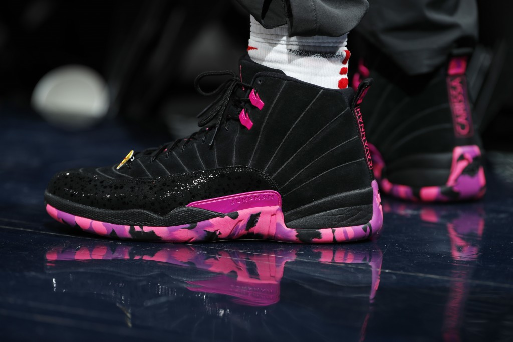 FILE- This Feb. 27, 2018, file photo shows Jordan shoes worn by Los Angeles Clippers forward Montrezl Harrell (5) in the first half of an NBA basketba...