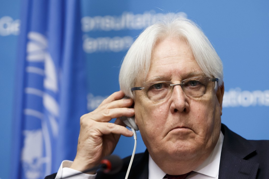 Martin Griffiths, UN Special Envoy for Yemen, adjusts his headset as he speaks to the media about Geneva Consultations on Yemen during a news conferen...