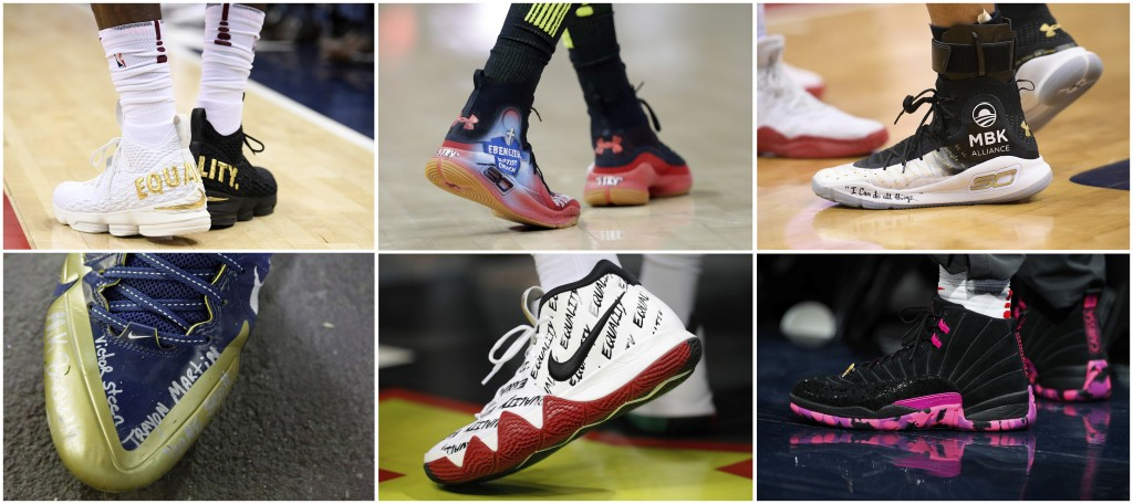 This Friday, Sept. 7, 2018, combo of file photos shows athletic shoes worn by professional athletes. After years of building billion-dollar brands aro...