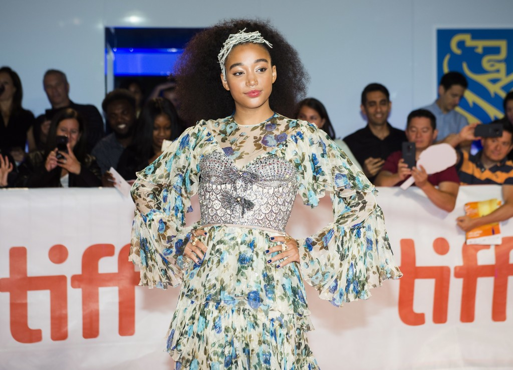 "Actress Amandla Stenberg poses for photographs on the red carpet after arriving for the new movie ""The Hate U Give"" during the 2018 Toronto Internatio"