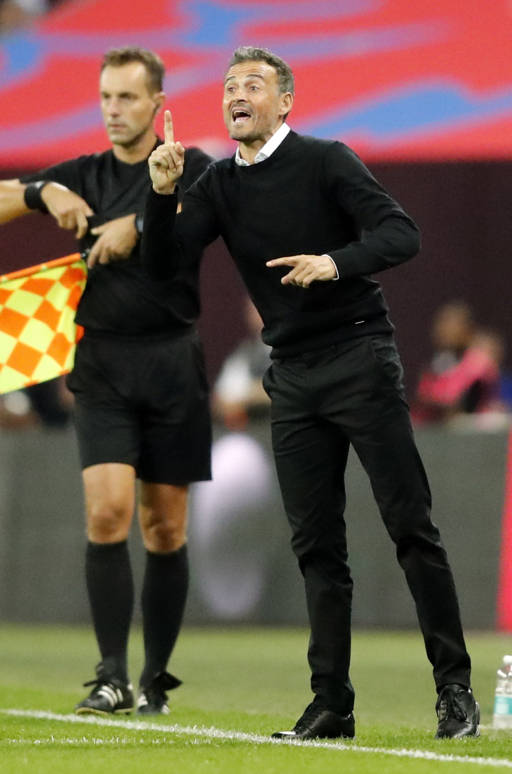 Spain head coach Luis Enrique gestures during the UEFA Nations League soccer match between England and Spain at Wembley stadium in London, Saturday Se