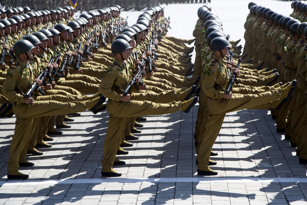 In this Sunday, Sept. 9, 2018, file photo, soldiers march past during a parade for the 70th anniversary of North Korea's founding day in Pyongyang, No