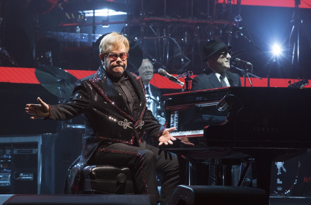 """Elton John performs in concert during the opening night of his """"Farewell Yellow Brick Road World Tour"""" at the PPL Center on Saturday, Sept. 8, 2018, i"""