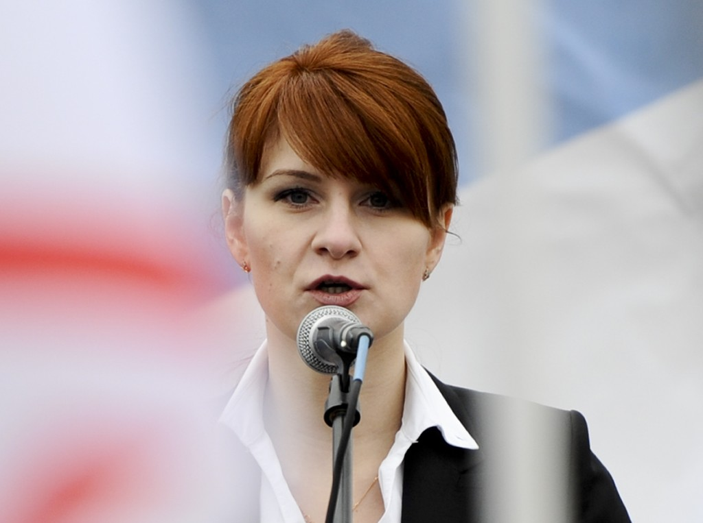 FILE - In this April 21, 2013 file photo, Maria Butina, leader of a pro-gun organization in Russia, speaks to a crowd during a rally in support of leg