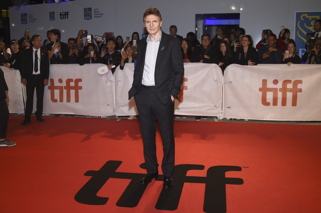 """Liam Neeson attends the premiere for """"Widows"""" on day 3 of the Toronto International Film Festival at Roy Thomson Hall on Saturday, Sept. 8, 2018, in T"""