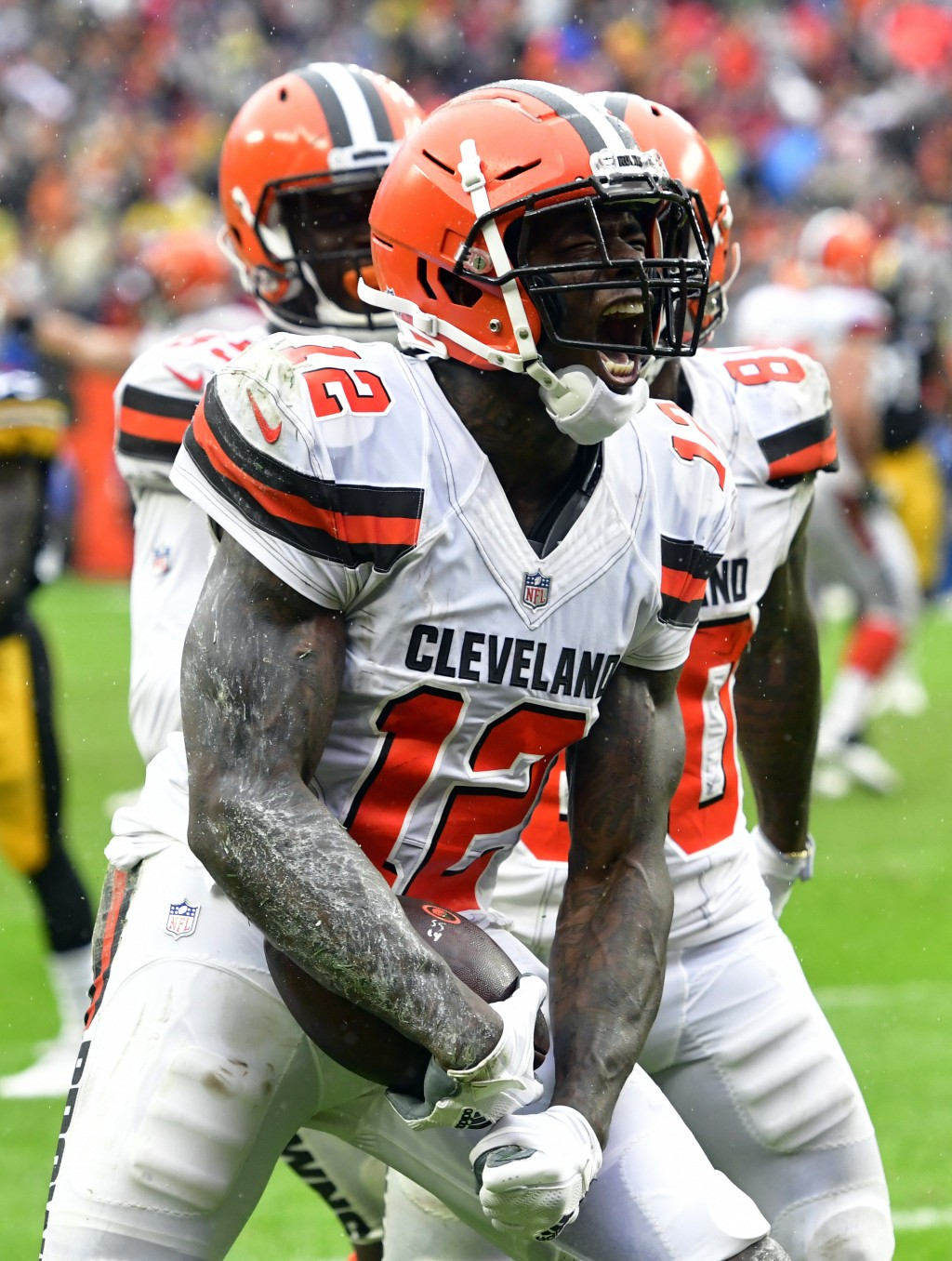 Cleveland Browns wide receiver Josh Gordon (12) reacts after catching a 17-yard touchdown pass during the second half of an NFL football game against
