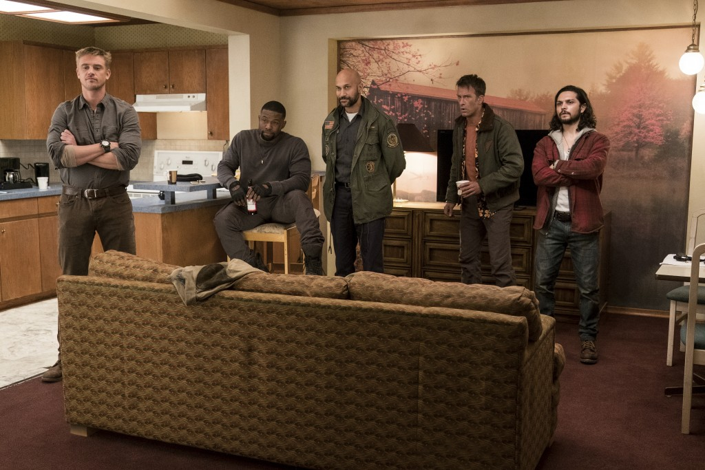 This image released by 20th Century Fox shows, from left, Boyd Holbrook, Trevante Rhodes, Keegan Michael-Key, Thomas Jane and Augusto Aguiliera in a s
