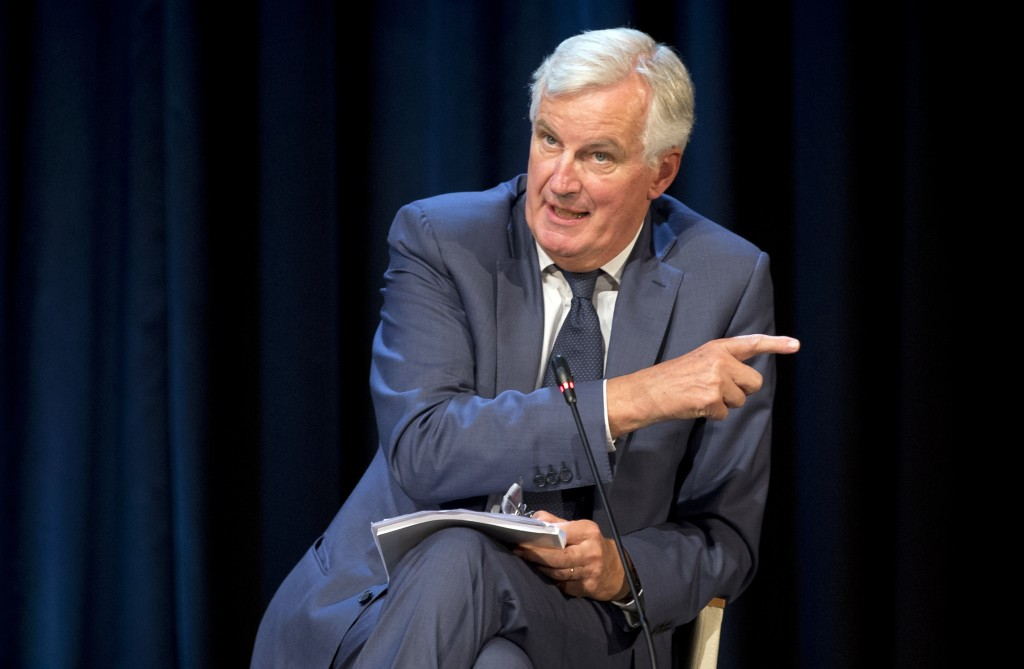 The European Union's Brexit negotiator Michel Barnier speaks at the Bled Strategic Forum in Bled, Slovenia, Monday, Sept. 10, 2018. Bernier said that