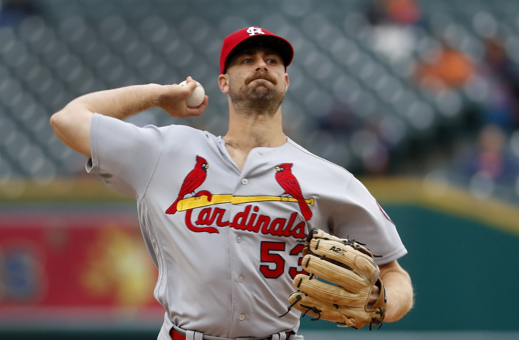 St. Louis Cardinals pitcher John Gant throws against the Detroit Tigers in the first inning of a baseball game in Detroit, Sunday, Sept. 9, 2018. (AP