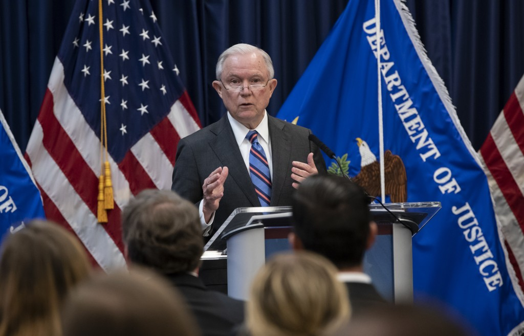 Attorney General Jeff Sessions outlines Trump administration policies as he speaks to new immigration judges, in Falls Church, Va., Monday, Sept. 10,