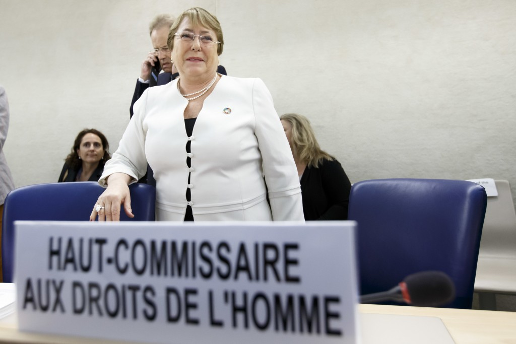 U.N. High Commissioner for Human Rights Chilean Michelle Bachelet attends the opening of the 39th session of the Human Rights Council, at the European