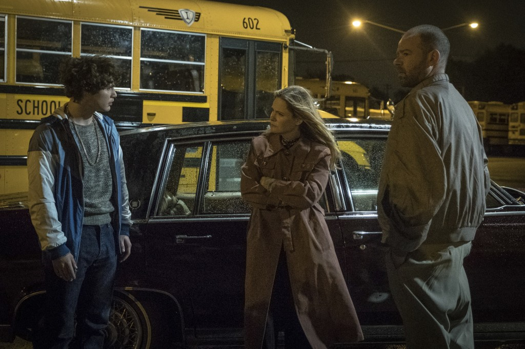 "This image released by Sony Pictures shows Richie Merritt, from left, Jennifer Jason Leigh and Rory Cochrane in a scene from ""White Boy Rick."" (Scott"
