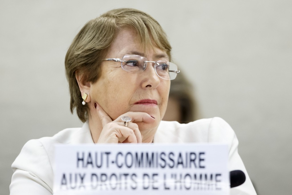 U.N. High Commissioner for Human Rights Chilean Michelle Bachelet listens to a speech during the opening of 39th session of the Human Rights Council,