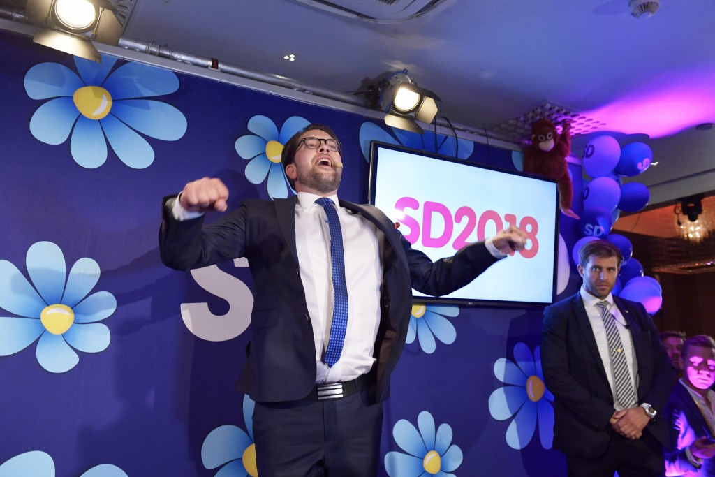 Sweden Democrats party leader Jimmie Åkesson speaks at the election party in  Stockholm, Sweden, Sunday, Sept. 9, 2018. Returns reported by the Scandi