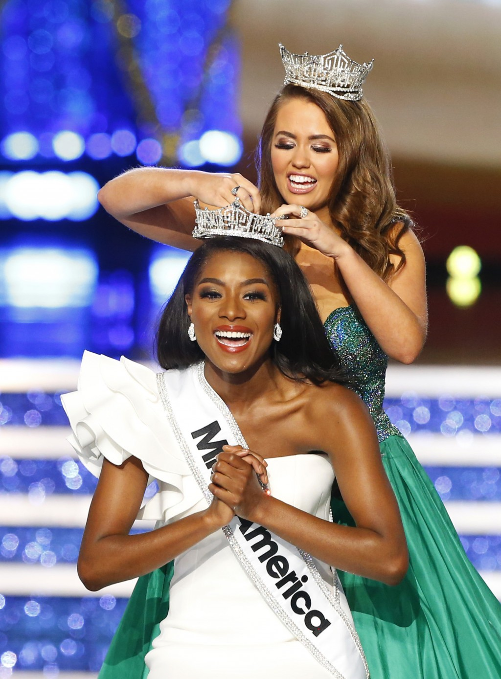 Miss New York Nia Franklin reacts after being named Miss America 2019, as she is crowned by last year's winner Cara Mund, Sunday, Sept. 9, 2018, in At