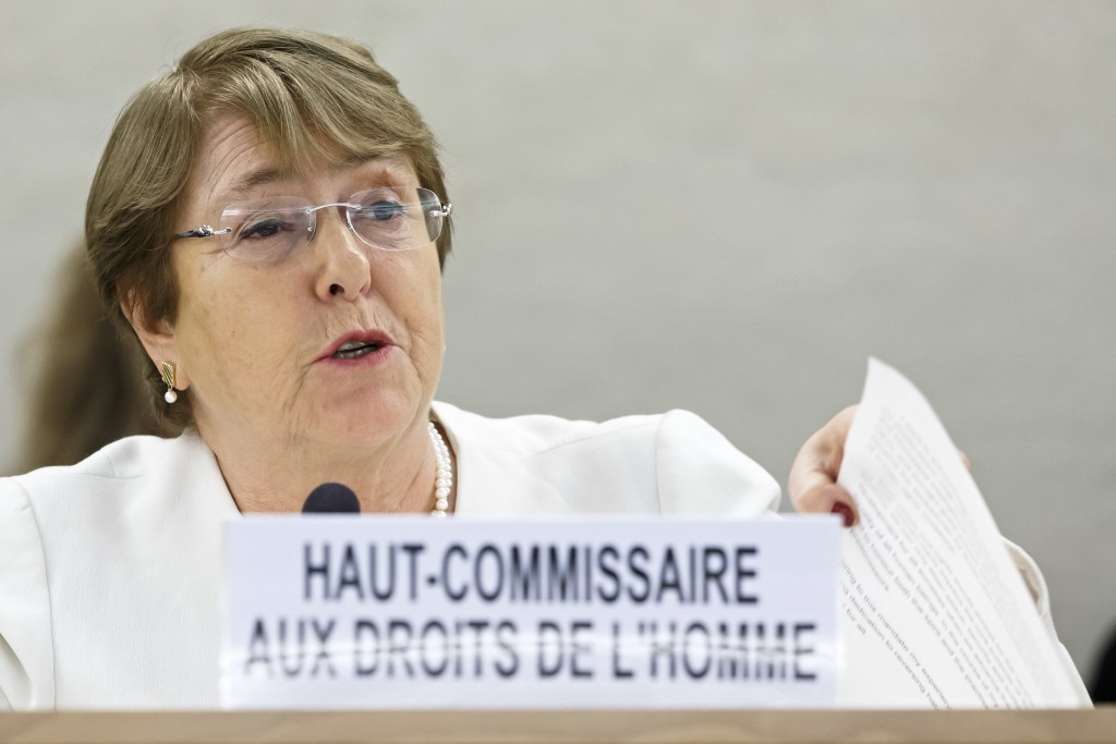 U.N. High Commissioner for Human Rights Chilean Michelle Bachelet addresses her statement during the opening of 39th session of the Human Rights Counc