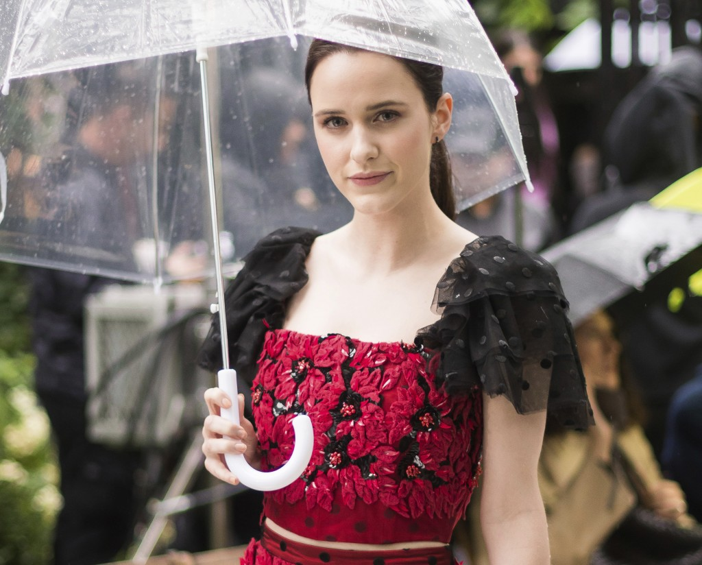 Rachel Brosnahan attends the Rodarte show, which was held outside in the rain, during Fashion Week on Sunday, Sept. 9, 2018 in New York. (Photo by Cha