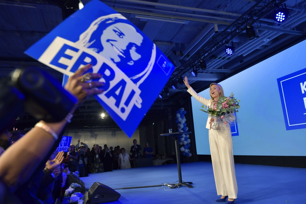 The Christian Democrats party leader Ebba Busch Thor speaks at the election party in Stockholm, Sweden, Sunday, Sept. 9, 2018. Preliminary results of