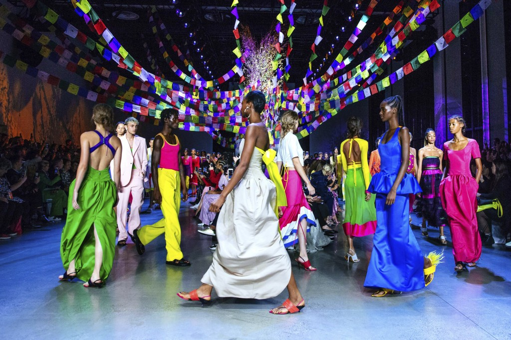 The Prabal Gurung spring 2019 collection is modeled during Fashion Week Sunday, Sept. 9, 2018, in New York. (AP Photo/Kevin Hagen).