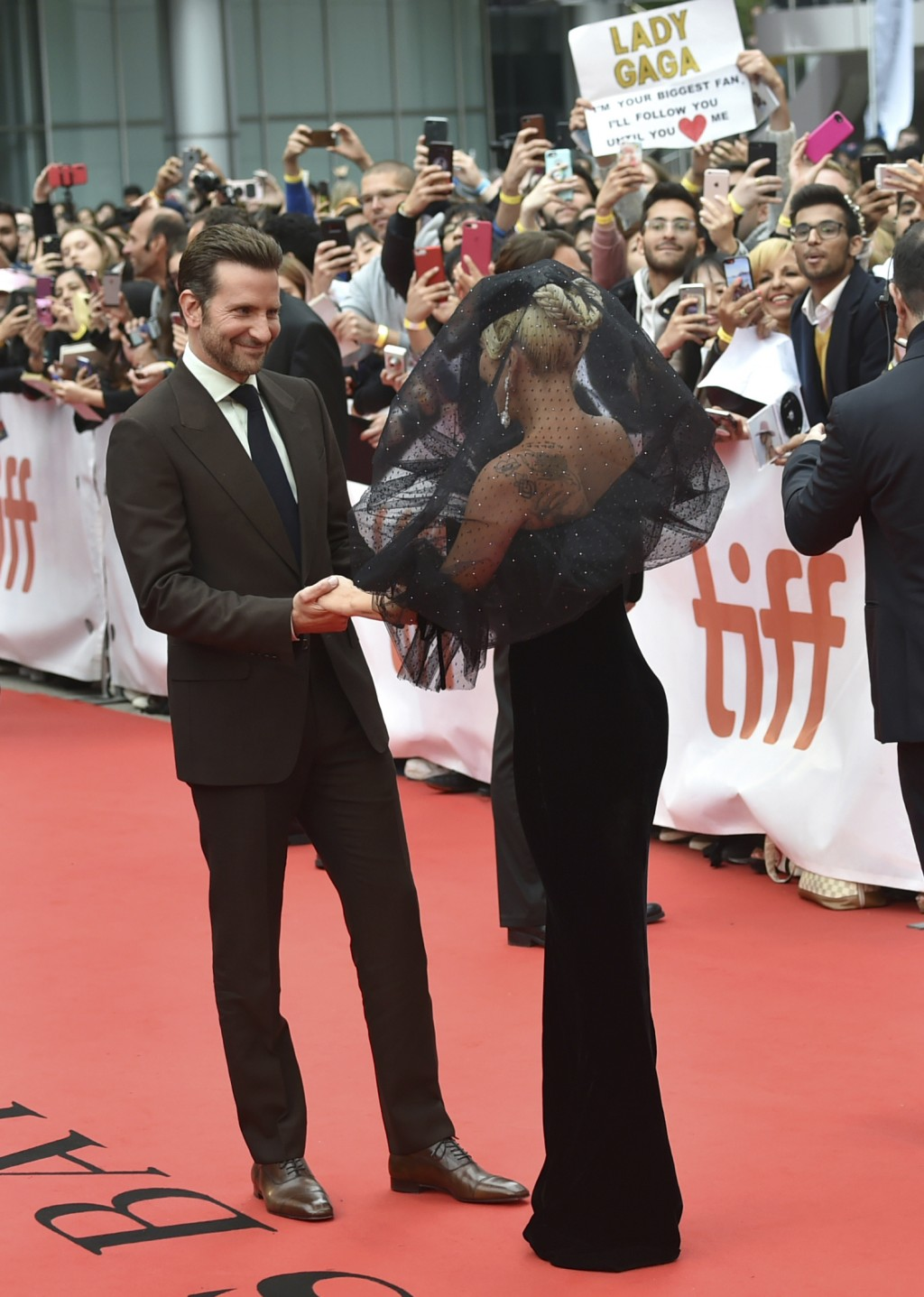 "Bradley Cooper, left, and Lady Gaga attend the gala for ""A Star is Born"" on Day 4 of the Toronto International Film Festival at Roy Thomson Hall on Su"