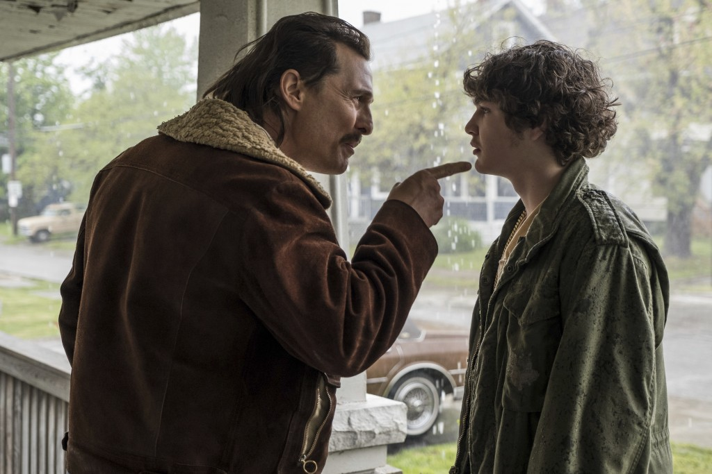"This image released by Sony Pictures shows and Matthew McConaughey, left, and Richie Merritt in a scene from ""White Boy Rick."" (Scott Garfield/Sony/Co"